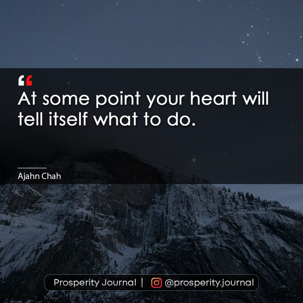 Motivational Quote - At some point your heart will tell itself what to do. - Ajahn Chah